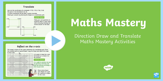 Year 6 Geometry Position and Direction Draw and Translate Maths Mastery Activities PowerPoint - Year 6 Maths Mastery, KS2, Y6, draw, translate, translation, reflect, reflection, symmetry, coordina