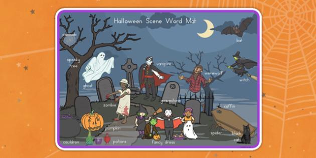 Halloween Scene Word Mat - Spooky, October, words, activity, filler, worksheet, sheet, visual aid,