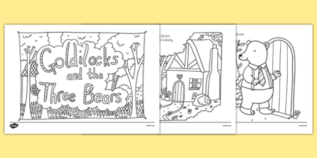 Adult Colouring Mindfulness Goldilocks and the Three Bears Story