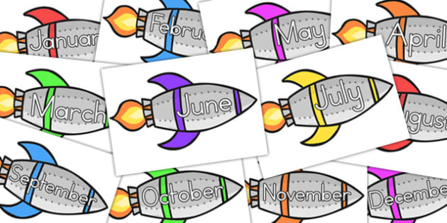 Months Of The Year On Rockets - australia, months, year, rockets