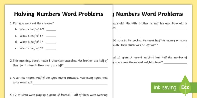 Halving Numbers Word Problems Worksheet / Worksheet - Amazing Fact ...