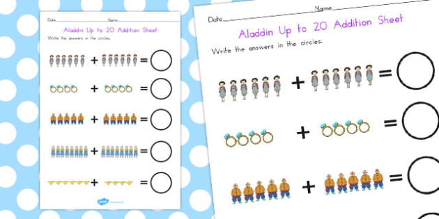 Aladdin Up to 20 Addition Sheet - maths, numeracy, adding, add
