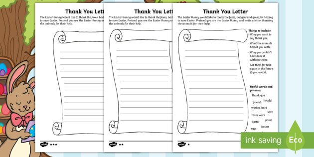 Saving Easter Writing A Thank You Letter Worksheet Worksheets