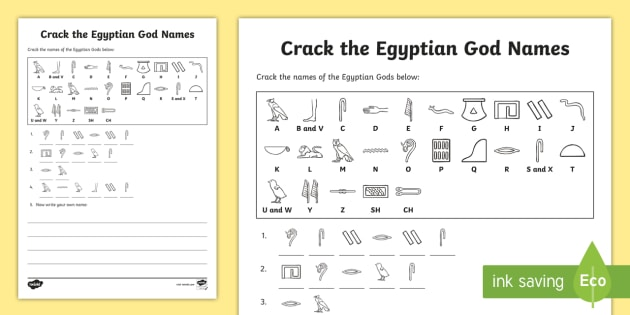 Crack the Hieroglyphs Egyptian God Names Worksheet - hieroglyphs, hieroglyphs worksheet, hieroglyphs code worksheet, egyptian gods, ancient egypt, ks2