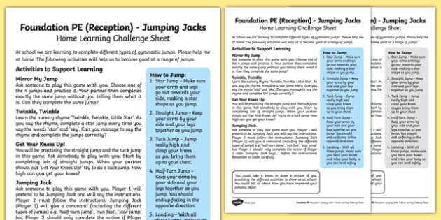 Foundation PE (Reception) - Jumping Jacks Home Learning Challenge Sheet - EYFS, PE, Physical Development, Planning