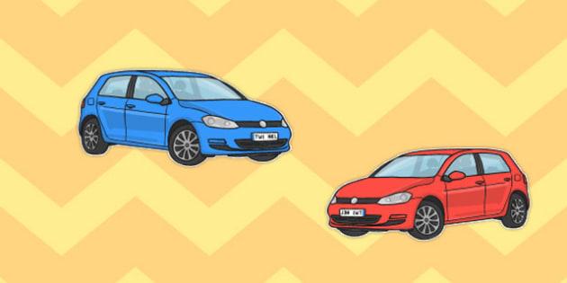 Car Cut Outs - car, cut, outs, cut outs, cars, red, blue, craft