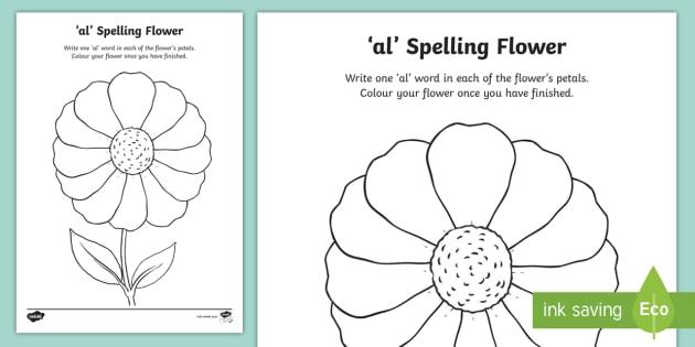 u0026 39 al u0026 39  sound spelling flower worksheet