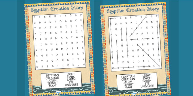 Ancient Egypt Gods and Goddesses Wordsearch by ...