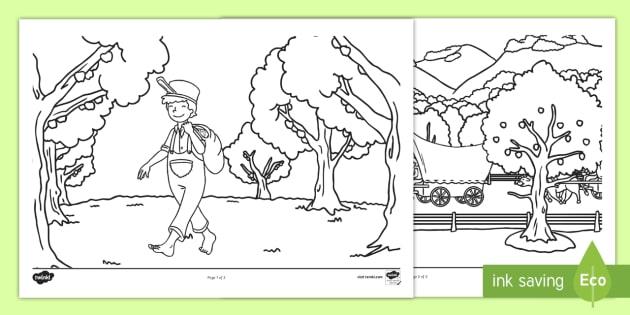 Johnny Appleseed Coloring Activity Sheet - John chapman, Apples, Fall, American legends, worksheet