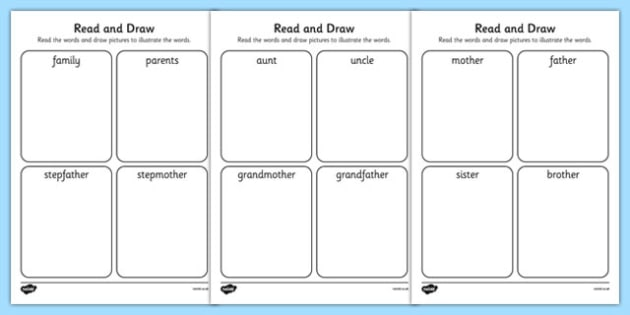word with letters image result for my family kindergarten worksheets t 25698 | T T 25698 My Family Read and Draw Activity Sheet ver 1