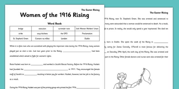 Women of the 1916 Rising Cloze Activity - women, 1916 rising, cloze activity, gaeilge, irish