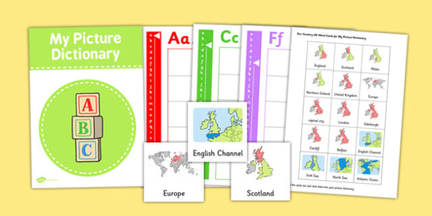 Our Country UK Word Card and Picture Dictionary Set - dictionary