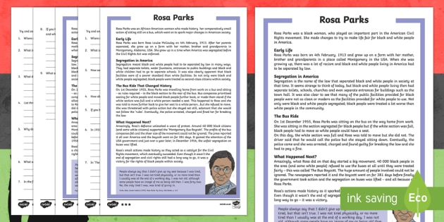 KS2 Rosa Parks Differentiated Reading Comprehension Activity