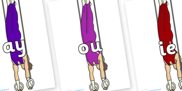 Phase 5 Phonemes on Gymnasts (Hoops) - Phonemes, phoneme, Phase 5, Phase five, Foundation, Literacy, Letters and Sounds, DfES, display