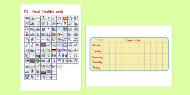 KS1 Mini Editable Visual Timetable - ks1, timetable, keystage one