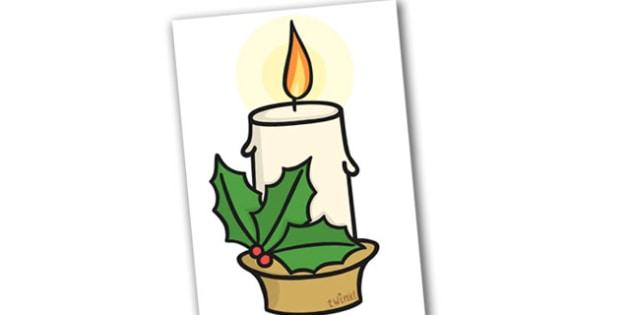 Christmas A4 Candle Editable  - christmas, candle, display, xmas
