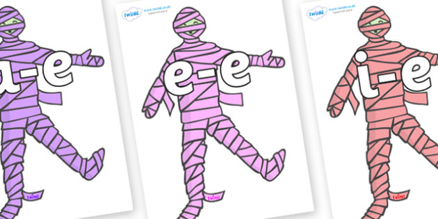 Modifying E Letters on Mummies (Multicolour) - Modifying E, letters, modify, Phase 5, Phase five, alternative spellings for phonemes, DfES letters and Sounds