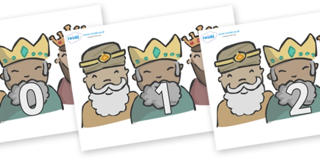 Numbers 0-31 on Three Kings - 0-31, foundation stage numeracy, Number recognition, Number flashcards, counting, number frieze, Display numbers, number posters