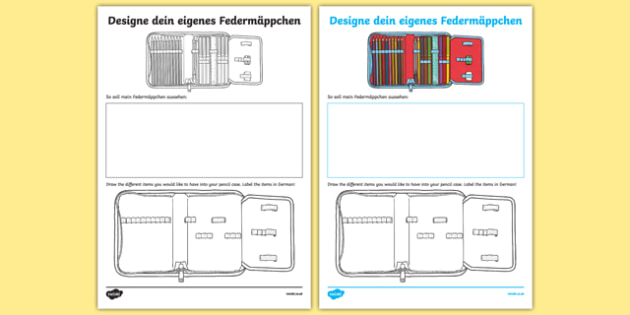 design your own german pencil case worksheet activity sheet