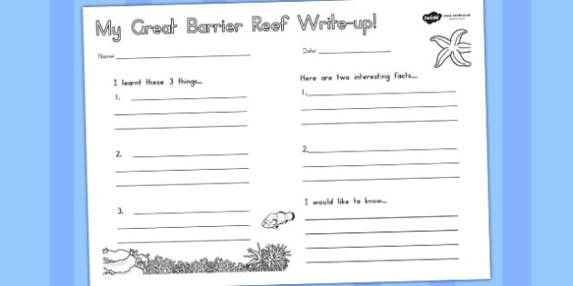 Great Barrier Reef Write Up Worksheet - australia, barrier, reef