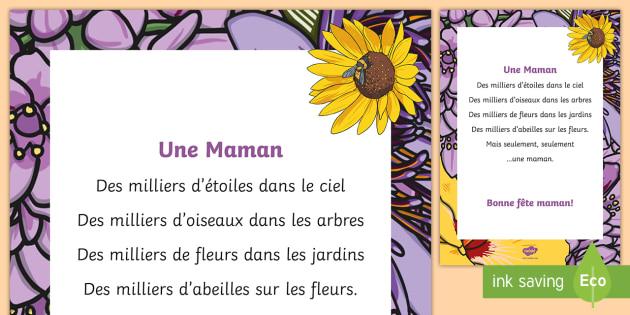 Poème Une Maman La Fête Des Mères La Fête Des Mères