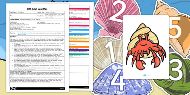 Number Shells Game EYFS Adult Input Plan and Resource Pack - pack