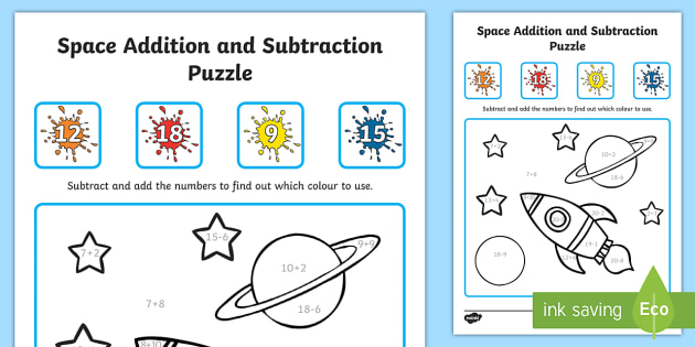 space addition and subtraction puzzle   space subtraction  space addition and subtraction puzzle   space subtraction addition