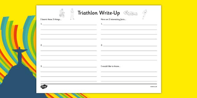 Rio 2016 Olympics Triathlon Write-Up Worksheet - rio 2016, rio olympics, 2016 olympics, triathlon, write up