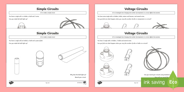 Electric Circuits Pupil Prompt Sheets - electricity, visual aids