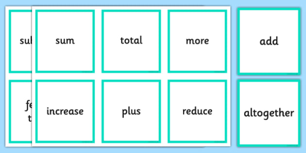 Addition and Subtraction Operations Words Cards - addition