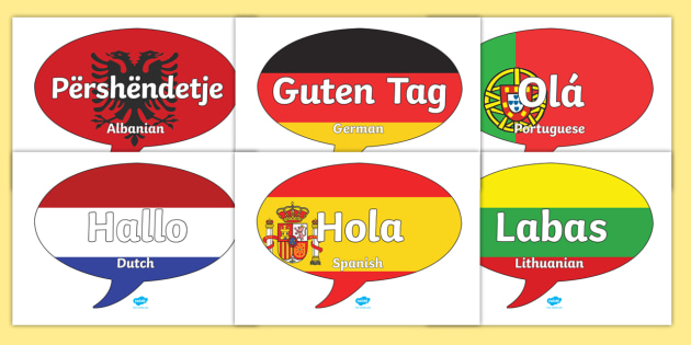FREE! - Mixed Language Hello Speech Bubble Signs - Mixed Language Hello