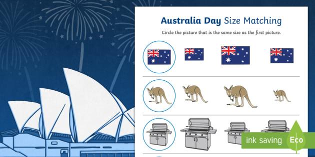Australia Day Size Matching Worksheets - australia, day, size