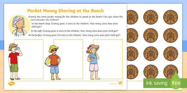 new pocket money at the beach sharing worksheets eyfs early years. Black Bedroom Furniture Sets. Home Design Ideas