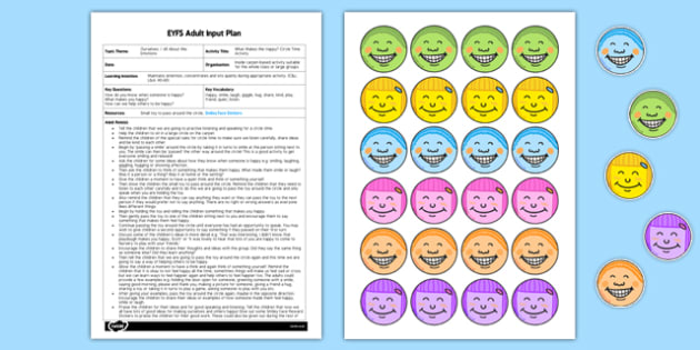 What Makes Me Happy Circle Time Activity EYFS Adult Input Plan and Resource Pack