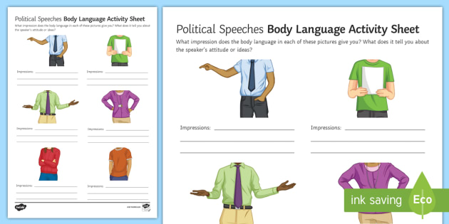 Body Language Worksheet Activity Sheet Secondary Event