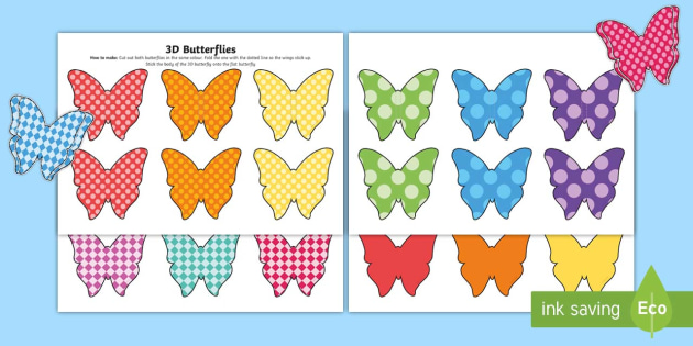 photo regarding Printable Butterfly Pictures known as Printable Patterned Butterfly 3D Wall Decals - minibeasts, 3D
