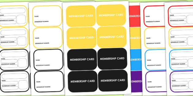 Editable Club Membership Cards - club, den, home, parents, props