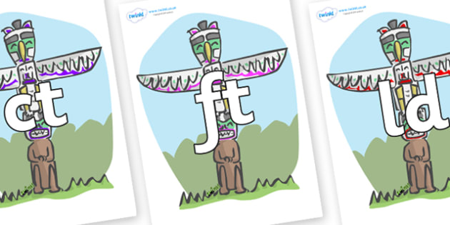 Final Letter Blends on Totem Poles - Final Letters, final letter, letter blend, letter blends, consonant, consonants, digraph, trigraph, literacy, alphabet, letters, foundation stage literacy