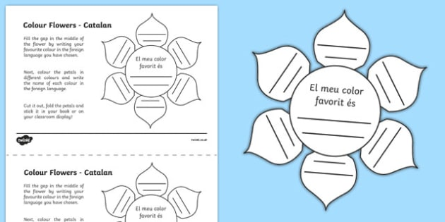 MFL Catalan Colour Flowers Activity Sheet, worksheet