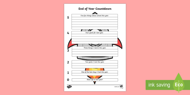 End of Year Countdown Writing Worksheet / Activity Sheet
