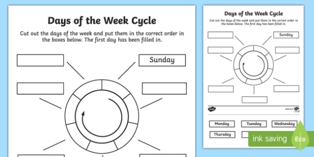 Days Of The Week Circle Cut And Stick Worksheet Activity Sheet