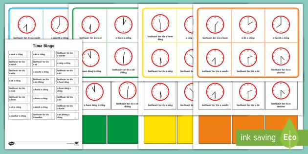 Half Past and O'Clock Time Bingo-Irish - Requests - ROI, Gaeilge, Mata, irish, Maths, Time am, an t-am, clock,an  chlog, clog,Irish