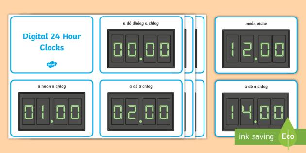 Digital 24 Hour Clocks Display Posters Gaeilge - Requests - ROI, Irish, Gaeilge, Maths, Mata, Time, Clock, 24 Hour clock, digital, Am, an t-am, an cl