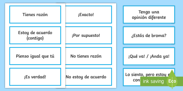 Agreeing And Disagreeing Expressions Word Cards Spanish Spanish