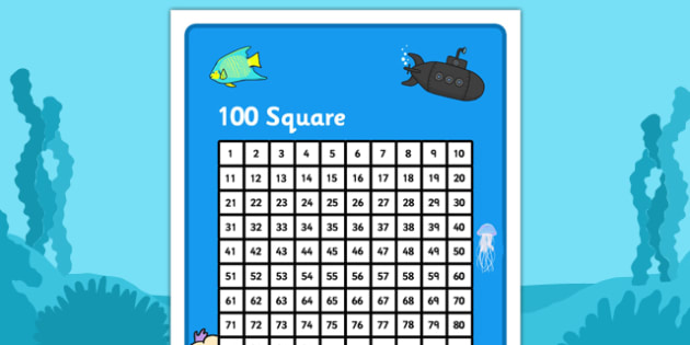 Under the Sea Themed 100 Number Square - under the sea, under the sea number square, under the sea themed 100 square, 100 square, number square