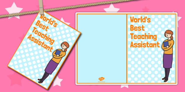 Worlds Best Teaching Assistant Card - card, teaching assistant