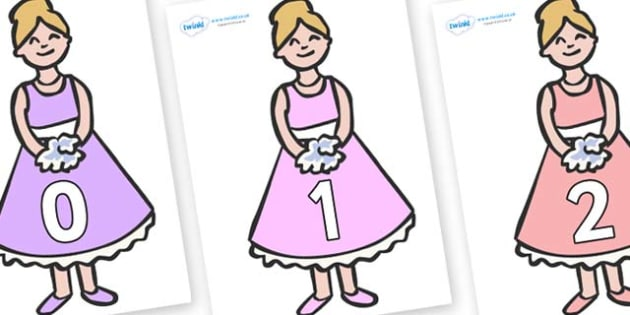Numbers 0-31 on Bridesmaids - 0-31, foundation stage numeracy, Number recognition, Number flashcards, counting, number frieze, Display numbers, number posters
