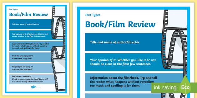 Premise Indicator Words: Text Types Guide Book Or Film Review Display Poster