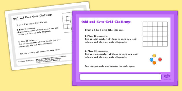A4 Odd and Even Grid Maths Challenge Poster - challenge, poster