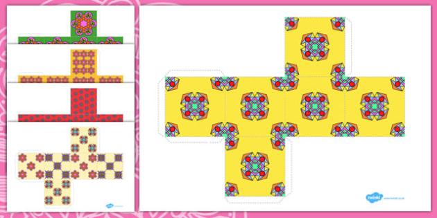 Diwali Patterned Gift Box Net Templates - gifts, presents, diwali, religion, celebrate